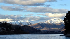 Lake Wakatipu from Kelvin Heights. In winter. The Remarkables mountains in the background Royalty Free Stock Photos