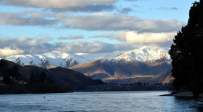 Lake Wakatipu from Kelvin Heights. In winter. The Remarkables mountains in the background Stock Photo