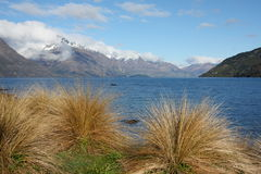 Lake Wakatipu and mountains. View from Queenstown Gardens across Lake Wakatipu New Zealand Stock Photography