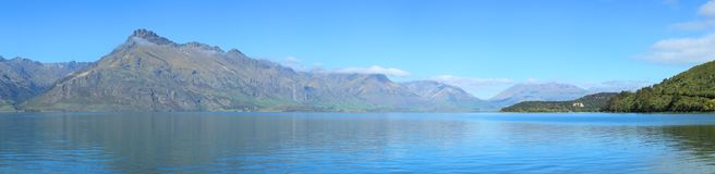 Lake Wakatipu and mountains in New Zealand Royalty Free Stock Image