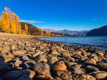 Lake Wakatipu near Queenstown at sunrise, South Island, New Zealand royalty free stock images