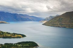 Lake Wakatipu in New Zealand, areal view from vista point. An areal vie of lake Wakatipu in Quenstown, New Zealand from Skyline Queenstown vista point Royalty Free Stock Photos
