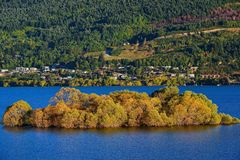 Lake Wakatipu in New Zealand stock photography