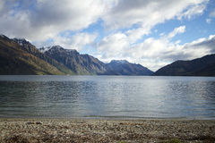 Lake Wakatipu New Zealand. View of Bayonet Peaks and Halfway Bay near Kingston Otago on South Island New Zealand royalty free stock photo