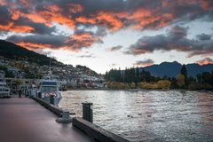 Lake Wakatipu at Queenstown with dramatic morning sky, New Zeala Royalty Free Stock Images