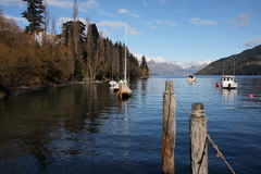 Lake Wakatipu at Queenstown New Zealand. Boats on Lake Wakatipu at Queenstown New Zealand Stock Photography