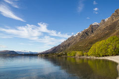 Lake Wakatipu, Queenstown, New Zealand. View of the clear waters and mountains at lake Wakatipu, New Zealand stock photo