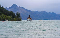 Lake Wakatipu Queenstown New Zealand. Old Steam Boat Stock Photo