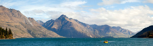 Lake Wakatipu of Queenstown New Zealand Panorama Stock Photos