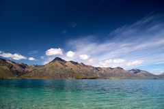 Lake Wakatipu between Queentown and Glenorchy Stock Photos