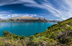 Lake Wakatipu between Queentown and Glenorchy Royalty Free Stock Photo