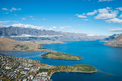 Lake Wakatipu and The Remarkables at Queenstown, New Zealand Stock Image
