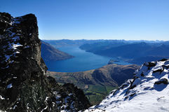 Lake Wakatipu view. Taken at The Remarkables in winter royalty free stock images