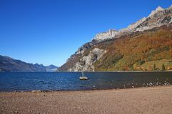 Lake Walensee and mountains of the Churfirsten range seen from W Royalty Free Stock Images