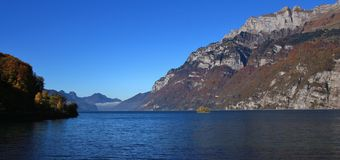 Lake Walensee and mountains of the Churfirsten range. Small isla Stock Photo