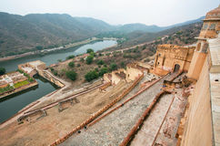 Lake and walls of ancient Amber Fort Stock Photo