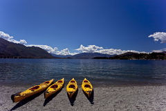 Lake wanaka. New zealand, lake wanaka, four kayak Royalty Free Stock Photography