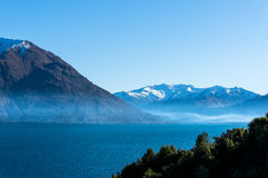 Lake Wanaka landscape with snow covered mountains Royalty Free Stock Image
