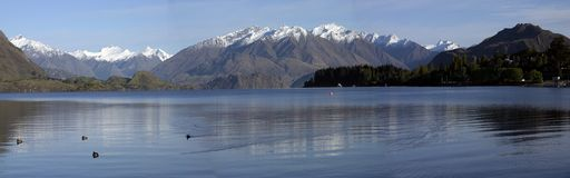 Lake Wanaka Panorama. In the early morning Stock Photography