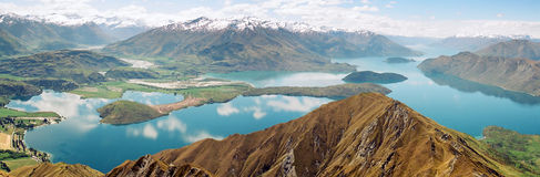 Lake Wanaka panorama, New Zealand royalty free stock image