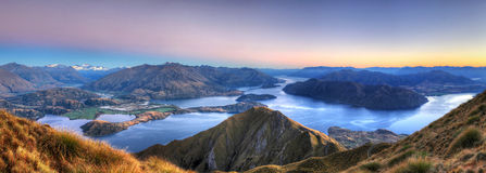 Lake Wanaka panorama, New Zealand. The beautiful lake Wanaka seen from the summit of Roy peak, New Zealand Royalty Free Stock Photo