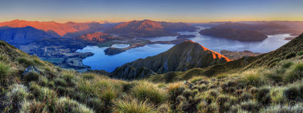 Lake Wanaka panorama, New Zealand. The beautiful lake Wanaka seen from the summit of Roy peak, New Zealand Stock Photography