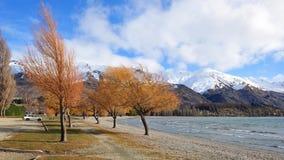 Lake Wanaka and snow mountains in New Zealand Stock Photo