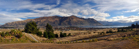 Lake Wanaka Township & Lake Panorama stock photography