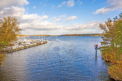 Lake Wannsee, Berlin. Berlin, Germany - October 27, 2013: View over the Lake Wannsee - the biggest in the hinterland of Berlin royalty free stock photo