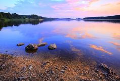 Lake at warm twilight Stock Photo