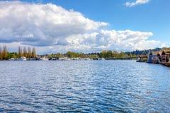 Lake Washington. Boat houses Royalty Free Stock Photography