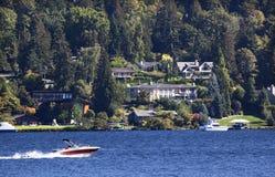 Lake Washington Mercer Island from Seward Park Royalty Free Stock Photos
