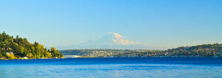 Lake Washington Panorama, Mount Rainier, Seattle Royalty Free Stock Photo