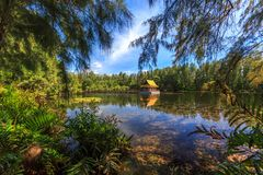 Lake in Wat Mai Khao temple. Phuket Thailand Royalty Free Stock Photo