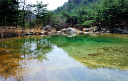 In lake water. The very small lake in the mountain, the water color is enchanting stock photography
