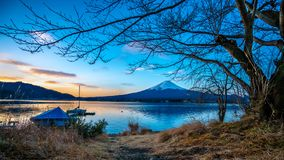 Lake House With Mount Fuji View Background royalty free stock image