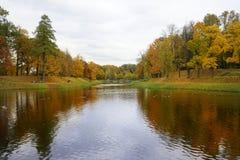 lake water reflection trees sky park autumn outdoors Royalty Free Stock Photo