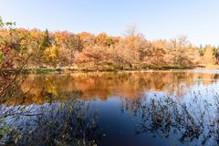 Lake with water reflections in colorful autumn day with colored. Lake with water reflections in colorful autumn day with white clouds in blue sky and colored Stock Photography