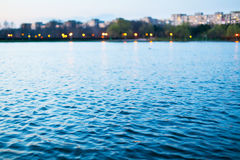 Lake water after sunset Royalty Free Stock Photo