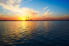 The lake water and sunset scenery Royalty Free Stock Image