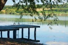 Lake water under the pontoon Stock Photos