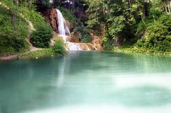 Lake & Waterfall. A view of a lake and waterfall in summer Royalty Free Stock Images