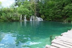 Lake. Waterfall into a lake Stock Photography