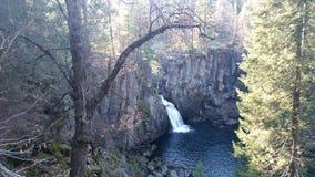 Lake waterfall. Blue lake waterfall Stock Images