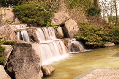 Lake Waterfall Pond Brook in Japanese garden Stock Image