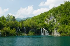 Lake and Waterfalls Stock Photography