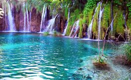 Lake and  waterfalls. Royalty Free Stock Photography