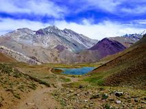 Lake on the way to the Aconcagua mountain. This is a natural lake on the way to the highest peak of south america: the Aconcagua mountain located in Los Andes royalty free stock photography