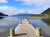 Lake And Wharf. Wharf In The New Zealand Royalty Free Stock Photos