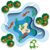 Lake in which the fish swim. View from above. Vector illustration Royalty Free Stock Photography